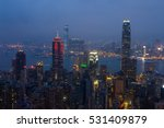 night view of city in mist and... | Shutterstock . vector #531409879
