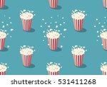popcorn bucket seamless pattern | Shutterstock .eps vector #531411268