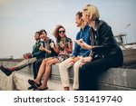 happy young people partying on... | Shutterstock . vector #531419740