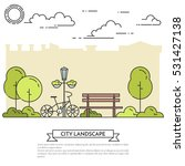 city landscape with bench and... | Shutterstock .eps vector #531427138