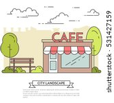 city landscape with bench and...   Shutterstock .eps vector #531427159