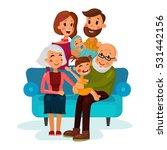 family with children sitting on ... | Shutterstock .eps vector #531442156