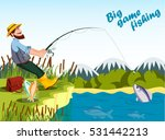 fisherman fishing at lake with... | Shutterstock .eps vector #531442213