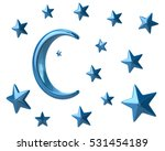 blue moon and stars 3d... | Shutterstock . vector #531454189