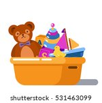 fluffy teddy bear and rubber... | Shutterstock .eps vector #531463099
