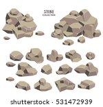 Cartoon Stone Set. Grey Rock...