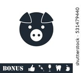 pig icon flat. vector... | Shutterstock .eps vector #531479440