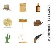 wild west set icons in cartoon... | Shutterstock .eps vector #531512824
