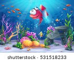 undersea fish with rocket.... | Shutterstock .eps vector #531518233