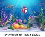 Undersea with fish. Marine Life Landscape - the ocean and the underwater world with different inhabitants. For design websites and mobile phones, printing
