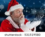 santa claus blowing a snow... | Shutterstock . vector #531519580