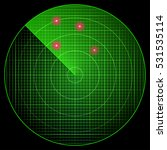green radar with red targets in ...   Shutterstock .eps vector #531535114