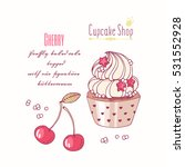 hand drawn cupcake with doodle... | Shutterstock .eps vector #531552928