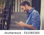 man texting on phone. casual... | Shutterstock . vector #531585283