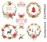 rustic christmas floral wreath | Shutterstock .eps vector #531599023