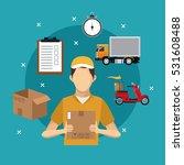delivery service man carton box ... | Shutterstock .eps vector #531608488