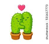 cactus hug vector drawing. cute ... | Shutterstock .eps vector #531617773