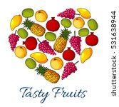 fruits and berries poster in... | Shutterstock .eps vector #531638944