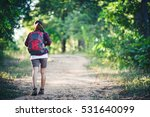 rear of young woman hiker with...   Shutterstock . vector #531640099