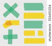 scotch tape pieces set. vector... | Shutterstock .eps vector #531651316