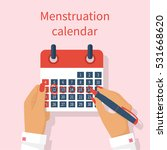 woman notes in the calendar... | Shutterstock .eps vector #531668620