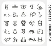 Animal Icons Set Isolated On...