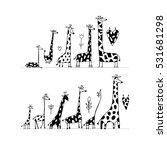 giraffes family  sketch for... | Shutterstock .eps vector #531681298