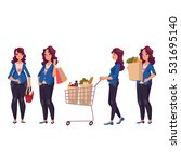 young pregnant woman shopping ... | Shutterstock .eps vector #531695140