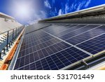 Solar Panel On Rooftop With Sun