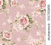 Stock photo watercolor seamless pattern roses in bud w beautiful pattern for decoration and design trendy 531702850