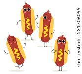 hot dog. cute fast food vector... | Shutterstock .eps vector #531706099