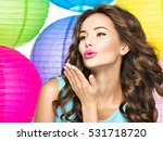 pretty happy girl with kiss... | Shutterstock . vector #531718720
