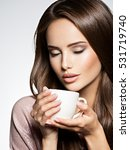 woman with cup of coffee.... | Shutterstock . vector #531719740