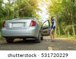 woman and broken car. young... | Shutterstock . vector #531720229