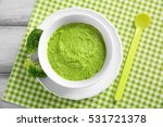 bowl with healthy baby food on... | Shutterstock . vector #531721378