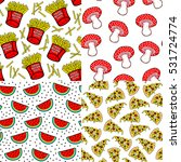 set of 4 food patterns with... | Shutterstock .eps vector #531724774