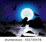 night fantasy seascape with... | Shutterstock .eps vector #531735478