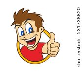cartoon guy thumbs up character | Shutterstock . vector #531738820