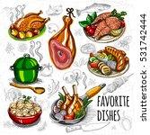 set color sketch meat  fish ... | Shutterstock .eps vector #531742444