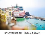 Small photo of Panoramic view of Vernazza in Cinque terre, Liguria, Italy. Miniature tilt shift lens effect.