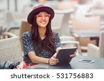 woman using tablet on lunch... | Shutterstock . vector #531756883