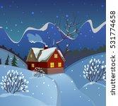 winter landscape. evening... | Shutterstock .eps vector #531774658
