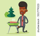 man sitting next to barbecue... | Shutterstock .eps vector #531779323
