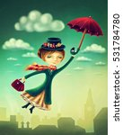 woman flying with an umbrella... | Shutterstock . vector #531784780