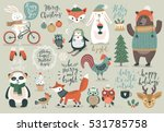 christmas set  hand drawn style ... | Shutterstock .eps vector #531785758