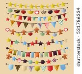 colorful bunting and garland...   Shutterstock .eps vector #531786334