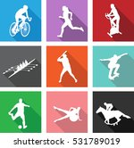 sport silhouettes on flat icons ... | Shutterstock .eps vector #531789019