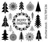 christmas set. trees ... | Shutterstock .eps vector #531789136