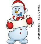 cartoon snowman holding empty...   Shutterstock .eps vector #531795958