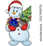 cartoon snowman holding... | Shutterstock .eps vector #531795970